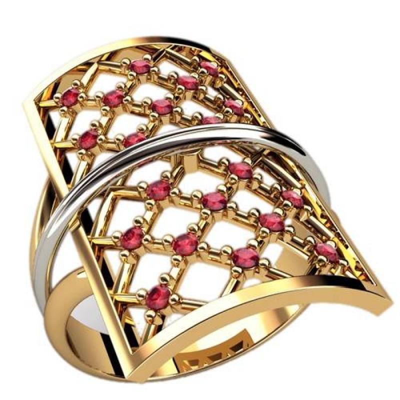 Необычные кольца женские из желтого и белого золота с рубинами, фото, вес 4.19 грамм