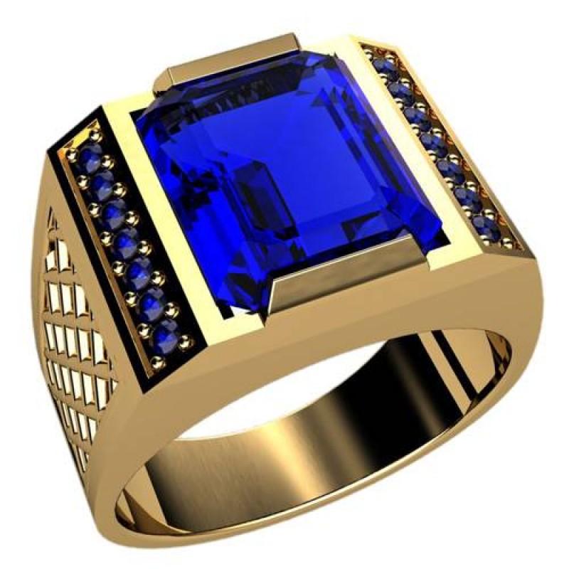 Like for - мужской золотой перстень с сапфиром - likeforyou