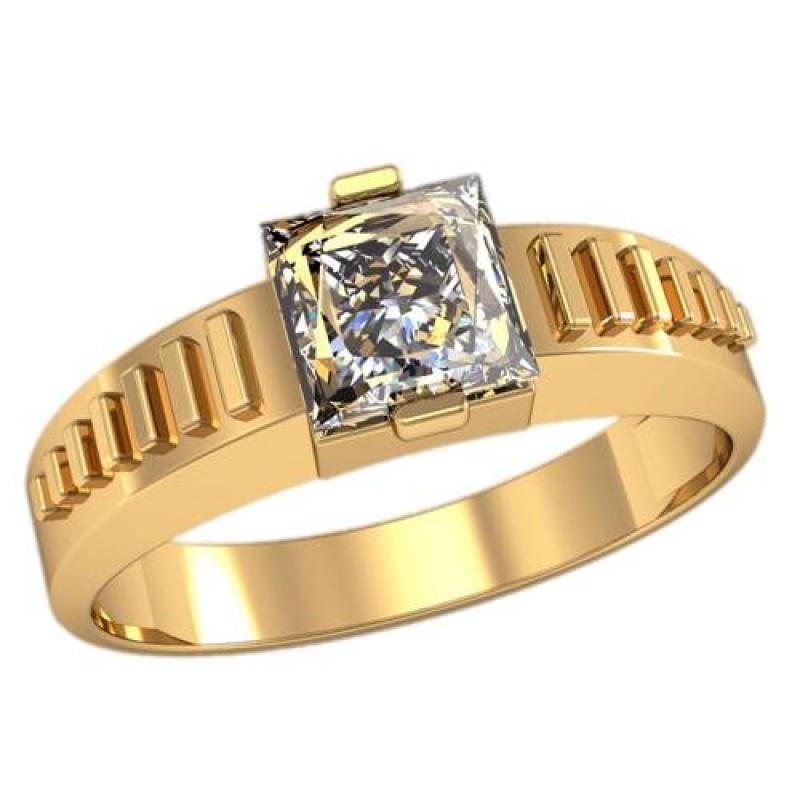 Золотой перстень, печатка с фианитами 3096