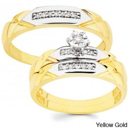 His and her wedding set yellow gold