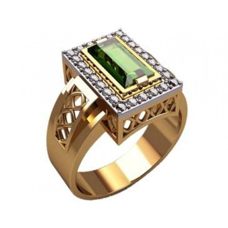 Перстень с хризолитом и бриллиантами. Золотое обручальное кольцо с бриллиантами и изумрудами