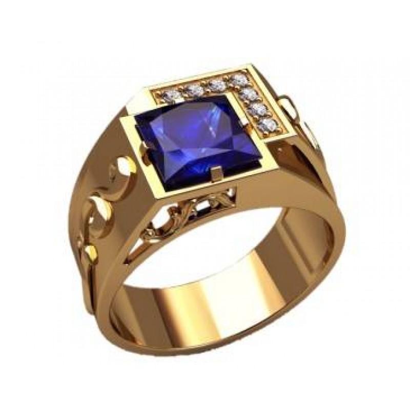 Мужское кольцо, перстень - с сапфиром, цирконом арт. GS3201 - Подробнее